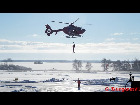 [HD] DHTMH Offshore EC 135 Helicopter Winter Winchtraining