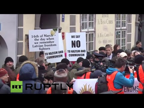 LIVE from Riga at march held to honour Waffen SS Latvian Legion