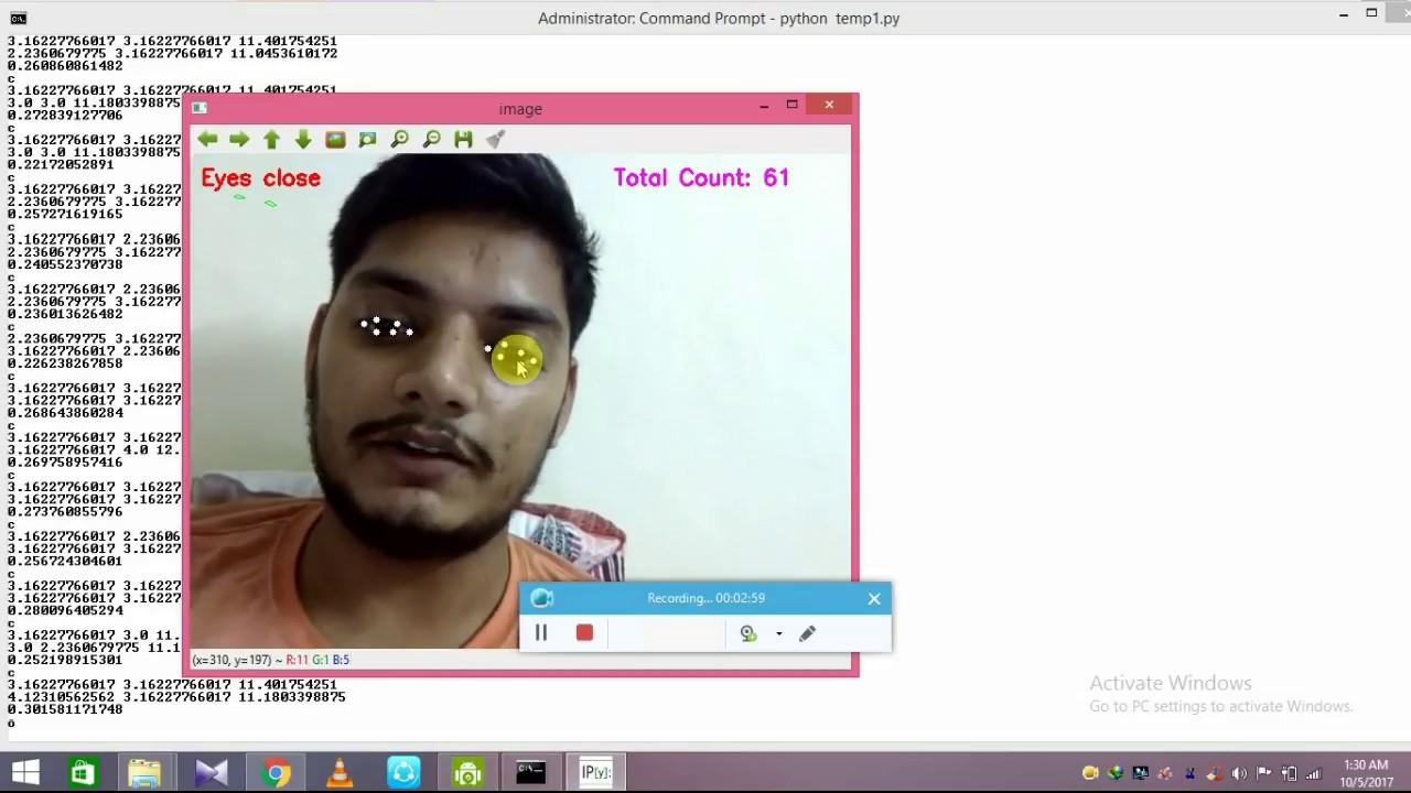 blink detection using opencv dlib windows python