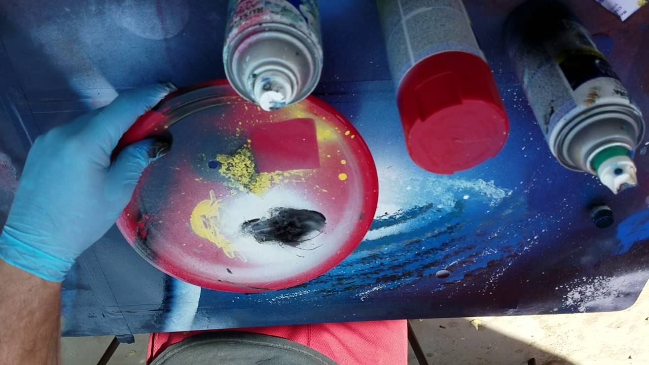 Blue galaxy spray paint art tutorial - YouTube