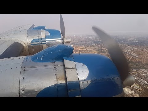South African Airways (SkyClass Aviation) DC-4 Flight from the cockpit