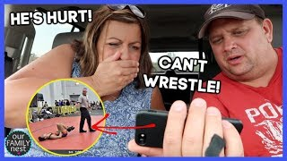 HE GETS REALLY HURT! HAS TO QUIT WRESTLING!