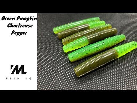 Making Soft Plastic Baits - Green Pumpkin Black Flake With Chartreuse Pepper