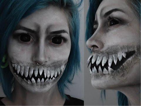 Creepy Monster teeth Halloween makeup Tutorial with Latex and Fake nails | Krispuuh