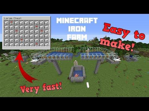 EASY Minecraft IRON Farm 1.14.4 - 1.15 Tutorial Very FAST!
