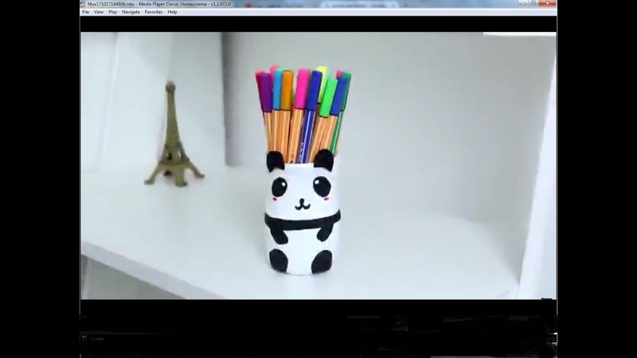 d650b93e19fc4 عمل مقلمه باندا من زجاجه بلاستيكيه  تزيين ادوات المدرسه - YouTube
