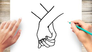 How to Draw Holding Hand Step by Step