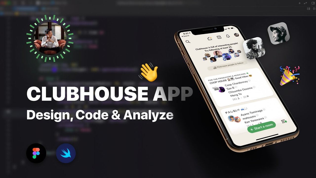 Design, code, analyze the ClubHouse app, bottom card UI in Figma and SwiftUI