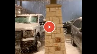 Torrent of Hailstones Pour on Vehicles in Parking Lot