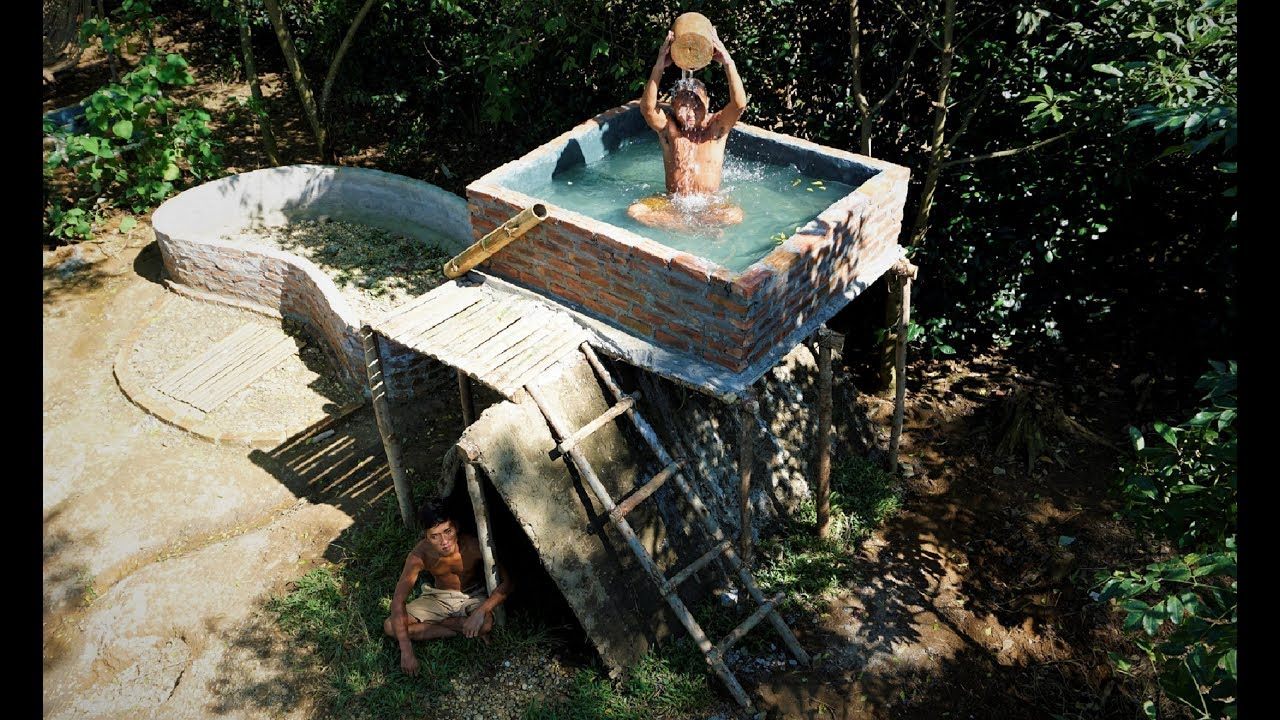 Build The Most Beautiful Swimming Pool On The Underground House By Ancient Skills