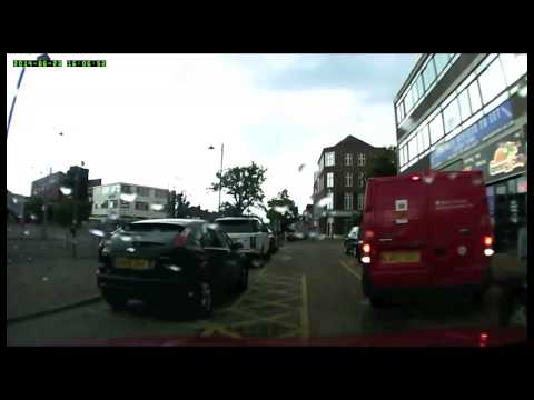 Post Office van driver abusing parked car