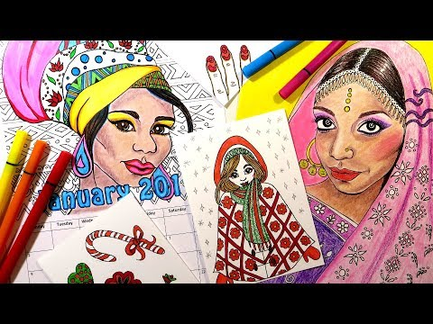 African And Indian Coloring Book Pages, Calendars And Cards || Download And Print