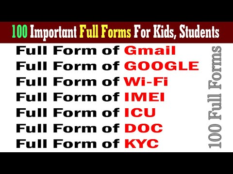 100 Most Important GK Full Forms   Full form General Knowledge   Full Form GK For Kids, Students