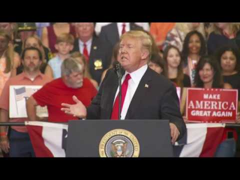 "U.S. President Trump attacked Tennessee Democratic Senate Candidate Phil Bredesen as a ""tool"" of ""MS-13 lover Nancy Pelosi."" At a rally in Nashville, Trump talked about and border control, reiterating that Mexico will pay for the border wall. (The Associated Press)"