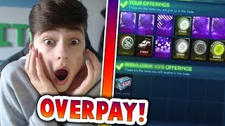 OVERPAYING IN TRADES   *INSANE* TRADING WITH FANS   Rocket League