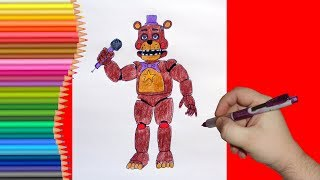 How to draw Rockstar Freddy, FNaF, Как нарисовать Рокстар Фредди, ФНаФ
