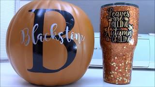 Cricut - how to apply vinyl to a pumpkin or round surface! Cricut craft