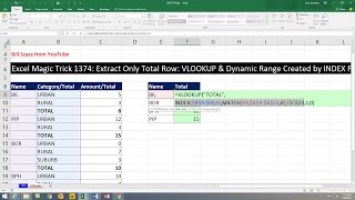 Excel Magic Trick 1374: Extract Only Total Row: VLOOKUP & Dynamic Range Created by INDEX Function