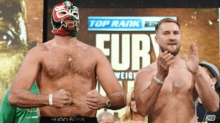 """""""Get the steel cage out!"""" Tyson Fury and Otto Wallin exchange words on stage during face off"""