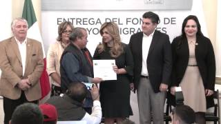 Gobernadora entrega Fondo de Apoyos a Migrantes