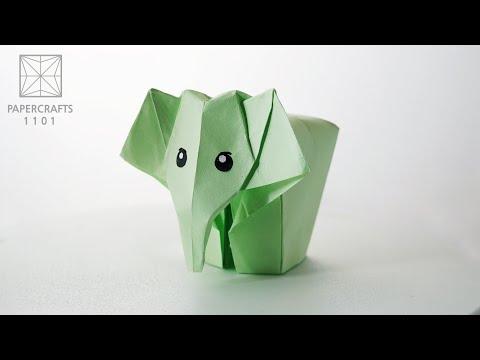 Origami Elephant (Li Jun) - Paper Folding / Papier Falten / 종이접기 - Paper Crafts 1101 おりがみ