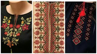 cross stich neckline hand embroidry designs|| amber beauty fashion