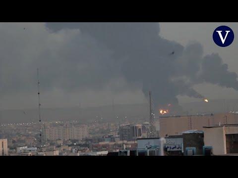 La principal refinería de petróleo de Teherán, en llamas