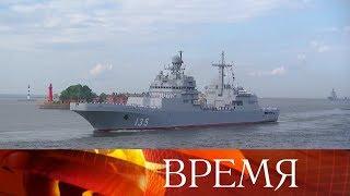 Новый большой десантный корабль спущен на воду в Калининграде.