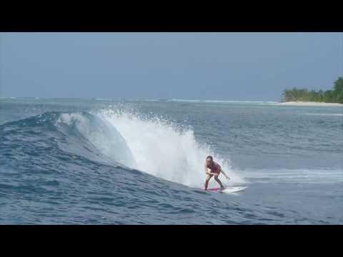 Sierra Kerr surfing Mentawai Islands Indonesia 2016. Surfer girl age 9 years old