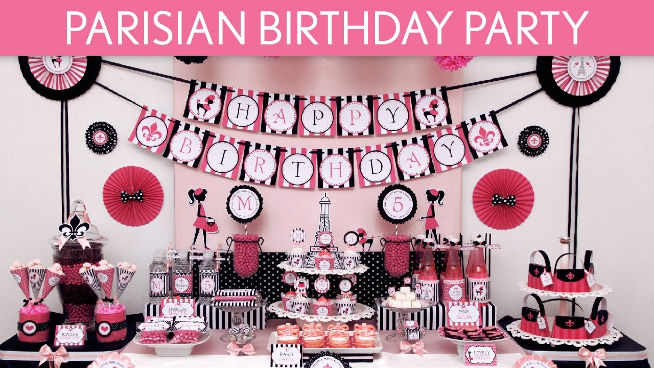 Paris Themed Party Decorating Ideas Part - 28: Parisian Birthday Party Ideas // Parisian - B105 - YouTube