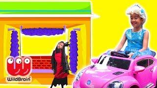 CAR WASH DISASTER - Malice Pranks Olivia! - Princesses In Real Life   WildBrain Kiddyzuzaa