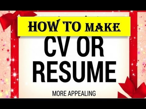 How to Write a CV or Curriculum Vitae - YouTube