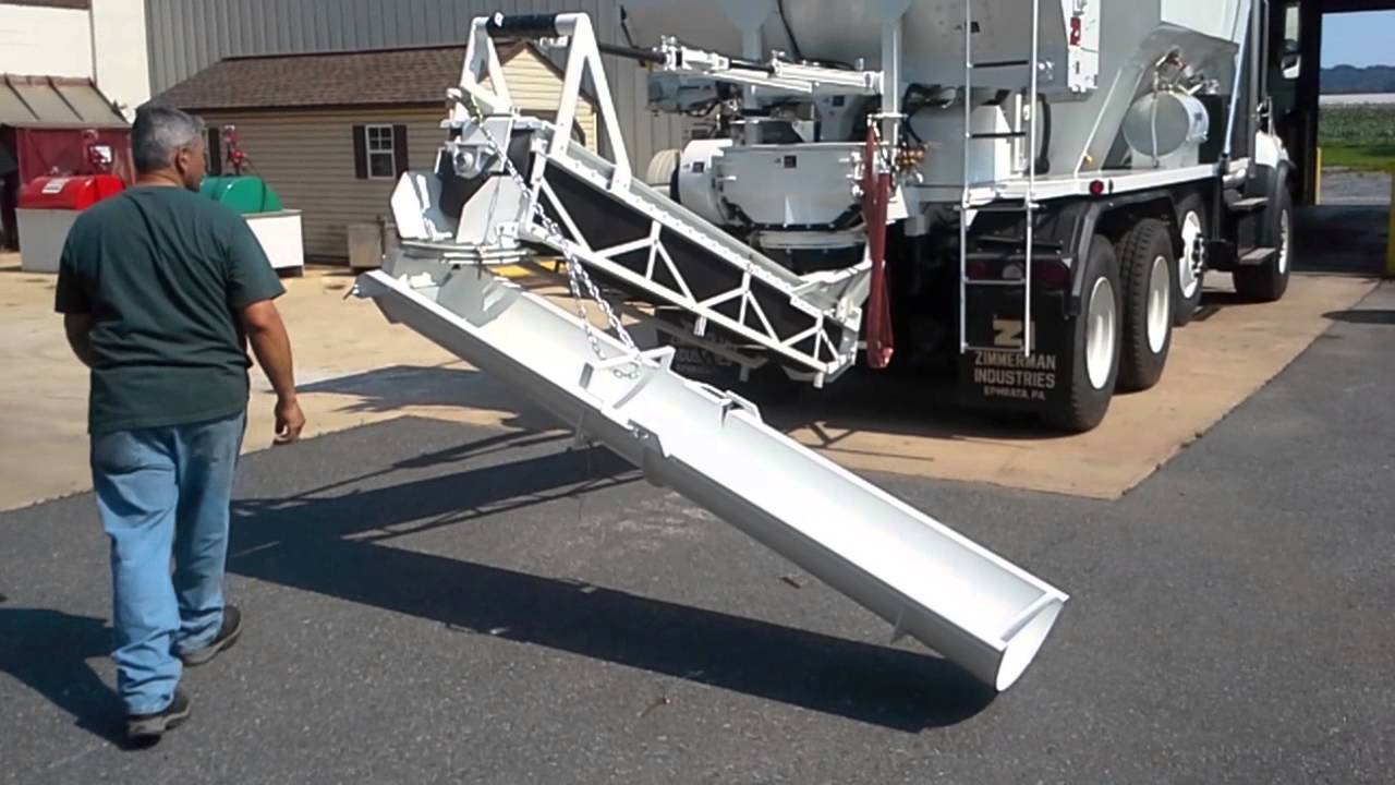 Swivel Chute On Volumetric Zim Mixer Positioning Stowage Youtube
