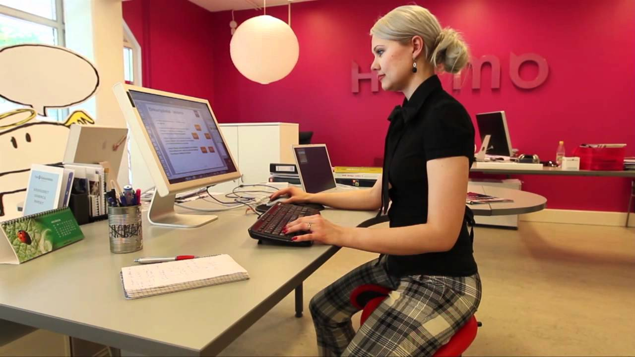Salli Saddle Chair in office - YouTube