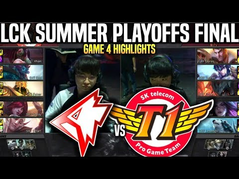 GRF Vs SKT Game 4 Highlights LCK Summer Playoffs Final - Griffin Vs SKT T1 Game 4 Highlights LCK