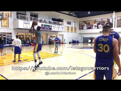 Stephen Curry and Kevin Durant shooting together after Warriors practice, Curry reacts to a miss