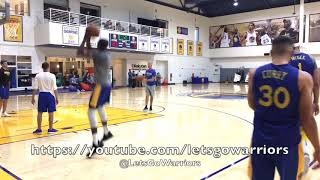 stephen curry and kevin durant shooting together after warriors practice curry reacts to a miss