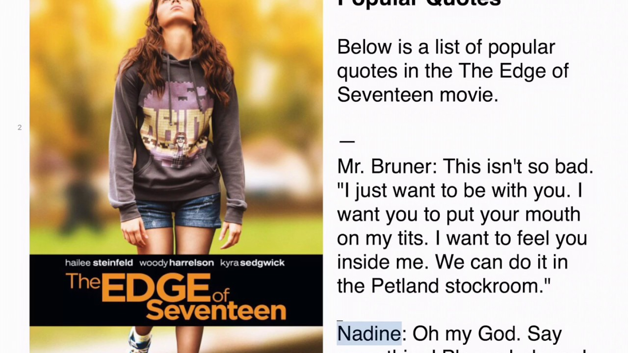 The Edge Of Seventeen Popular Quotes Youtube