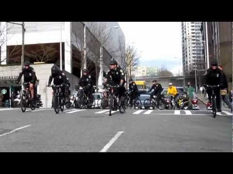 HEAVY Seattle Police Presence at permitted International Day Against Police Brutality March