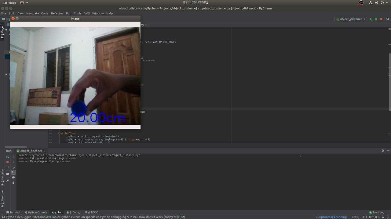 OpenCv Object distance python