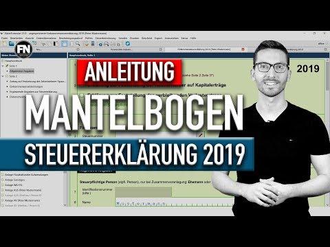Mantelbogen Steuererklärung 2019 Elster Ausfüllen | Steuererklärung 2019 Selber Machen Tutorial 2020