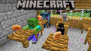 Minecraft MONSTER SCHOOL VISIT MCDONALD'S / MARK THE FRIENDLY ZOMBIE TAKE DAYCARE OUT !! Minecraft