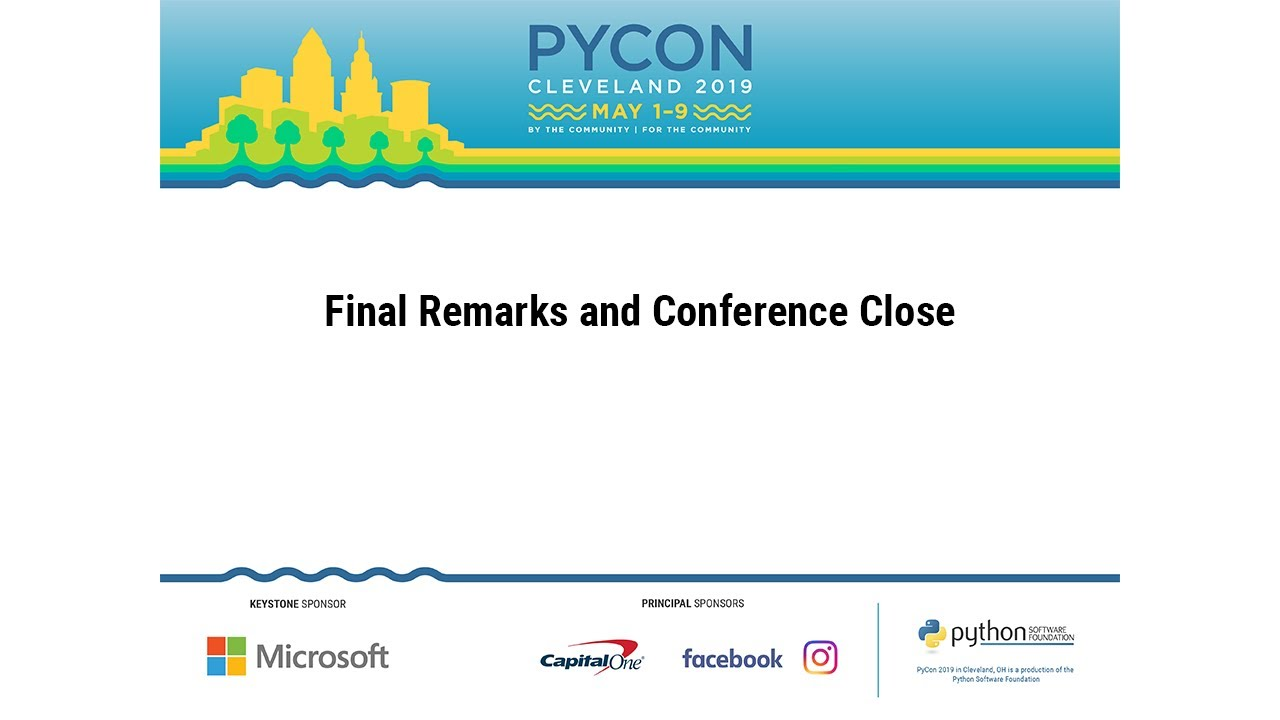 Image from Final Remarks and Conference Close for PyCon 2019