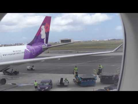 B747-8i take off from Honolulu International Airport