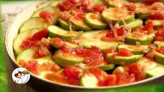 Тушеные Кабачки,  с помидорами и чесноком. Ну, очень вкусно.