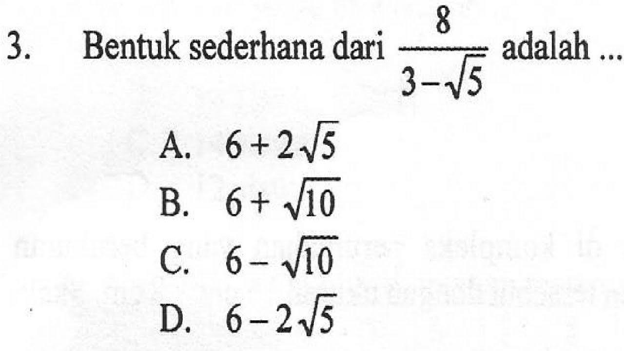 Contoh Soal Matematika Bentuk Sederhana
