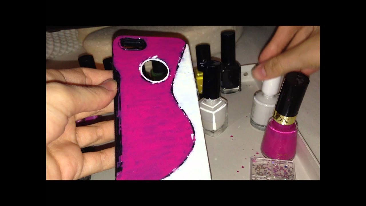 Mobile Decoration Design Diy Phone Cover Decoration With Nail Polish Youtube