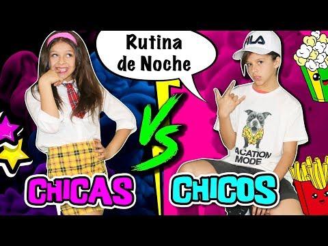 🎀 ¡¡CHICAS VS CHICOS!! 💜 RUTINA DE NOCHE para ESCUELA o COLEGIO 📚 NIÑAS vs NIÑOS NIGHT ROUTINE
