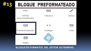 Bloque PREFORMATEADO de Gutenberg, Editor de WordPress   Bloques de FORMATOS del Gutemberg #13_2020