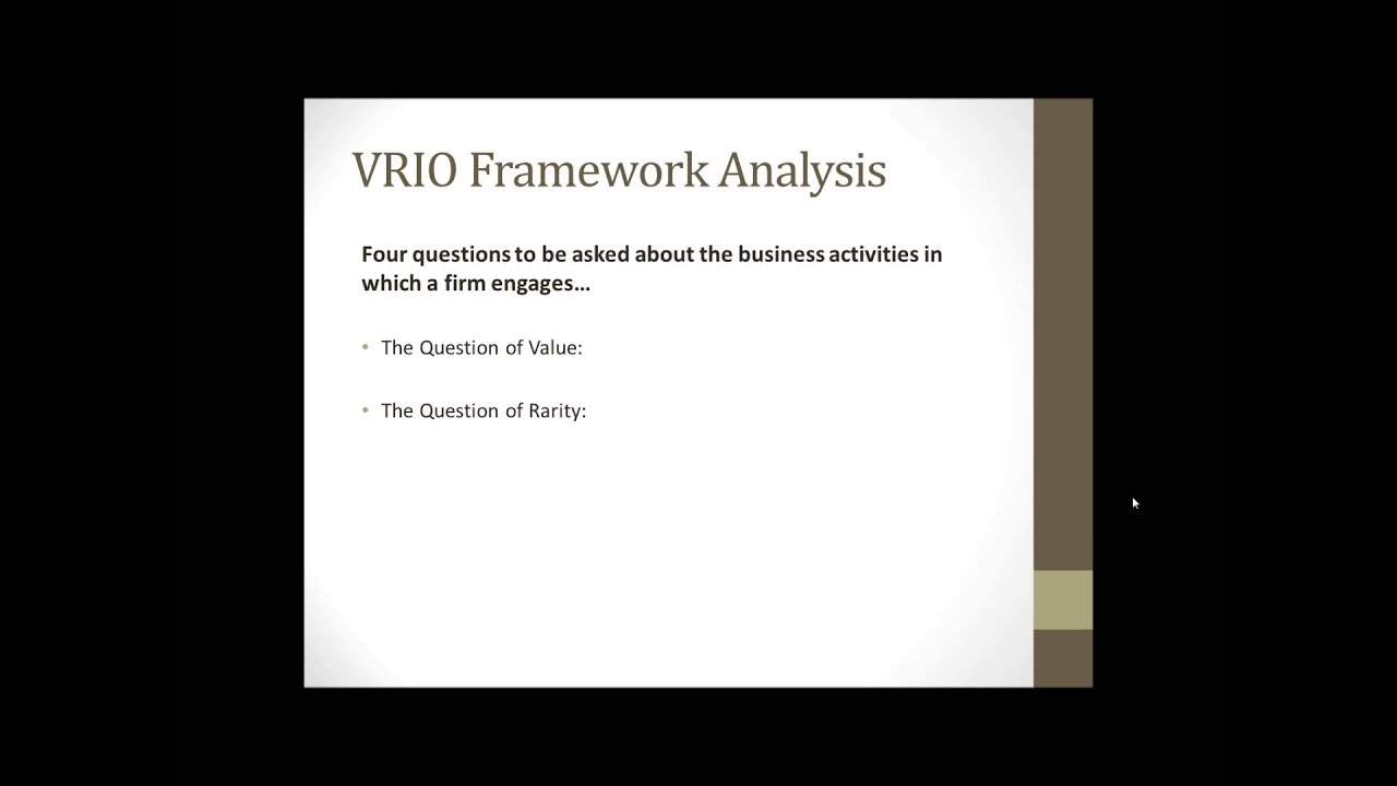 vrio framework on mcdonalds This can be performed using the porter's framework this can be seen from mcdonalds whereby it could deliver service the resource-based view of the firm is.